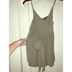 Fabrik Olive Green Tie in the Front Tank Romper